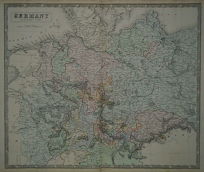 1856 Genuine Antique Large Hand Colored Map Northern Germany. G. Philip & Son