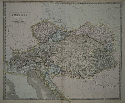 1856 Genuine Antique Large Hand Colored Map of Austria. G. Philip & Son