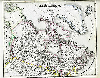 1849 Genuine Antique map of British North America, Greenland. by Meyer