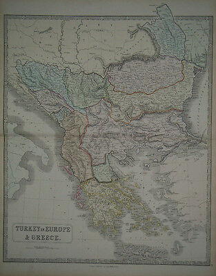 1856 Genuine Antique Large Hand Colored Map of Turkey & Greece. G. Philip & Son