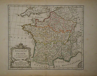 c1780 Genuine Antique hand colored map France, nice cartouche. De Vaugondy