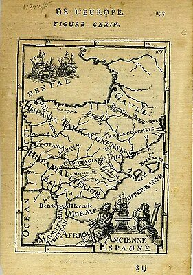 1683 Genuine Antique map of Ancient Spain. A.M. Mallet