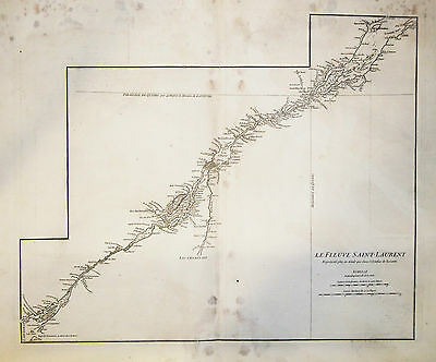1765 Genuine Antique large map of the Saint Lawrence River. by D'Anville