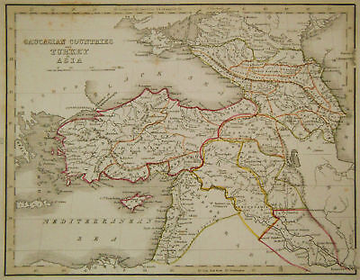 1835 Genuine Antique map Turkey & Holy Land, Bradford