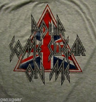 DEF LEPPARD cd cv POUR SOME SUGAR ON ME 80's Vintage Style BABYDOLL SHIRT MD new