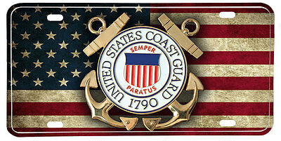 US Coast Guard NOVELTY License Plate - Distressed American Flag & Seal