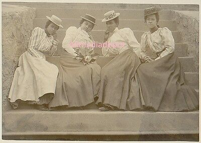 Four African American Women Sitting on The Steps. 8x10 Photo Reprint Ships Free.