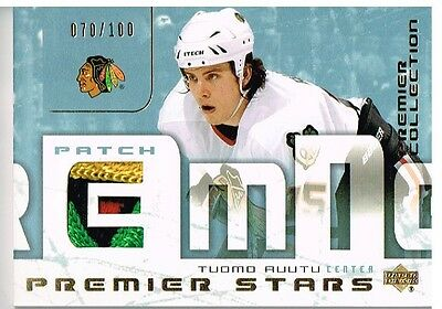 03-04 UD Premier Collection STARS PATCH xx/100 Made! Tuomo RUUTU - 4 COLOR