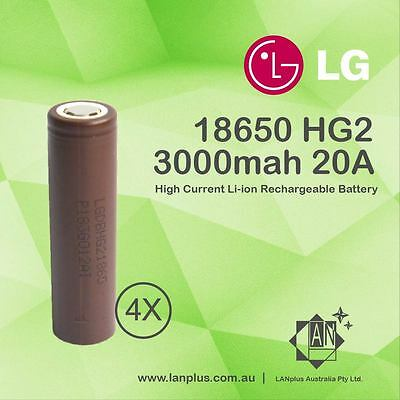 4x LG HG2 18650 3000mAh High Current 20A Rechargeable Lithium Battery Flat Top