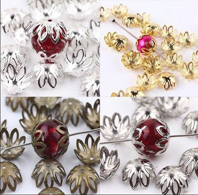 100/500pcs Silver/Golden/Bronze/Black Plated Flower End Beads Caps Charms 12x5mm