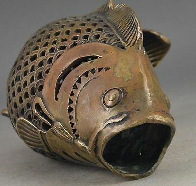 Vintage Big Brass Handwork Old Chinese Fish Hollow Out Get Rich Statue