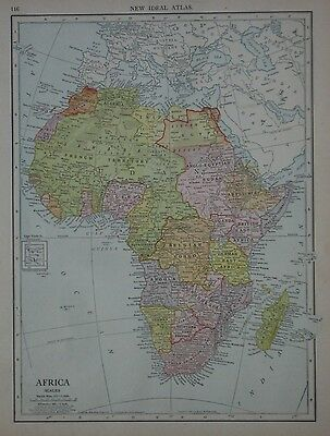 Original 1904 Colonial Possessions Map AFRICA Cape Coast Castle Walfish Bay