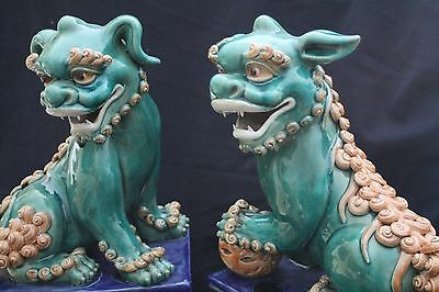 Pair of Glazed Ceramic Chinese Asian Foo Dog Figures (Large), Stand 19""