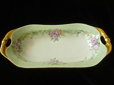 1915 WEIMAR GERMANY Porcelain Candy Nut Dish Reticulated Handles SIGNED DATED