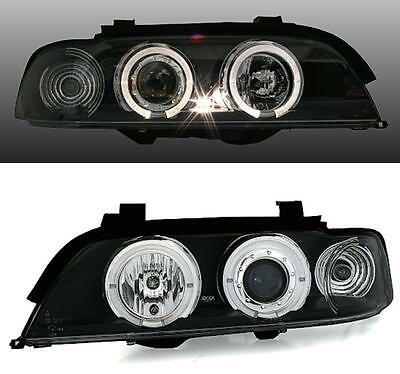 2 PHARES AV ANGEL EYES NOIR LED BLANC BMW SERIE 5 E39 1995-2000 525Td 525Tds