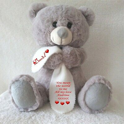 Personalised Grey Teddy Bear With Blanket Valentines Day Anniversary Birthday
