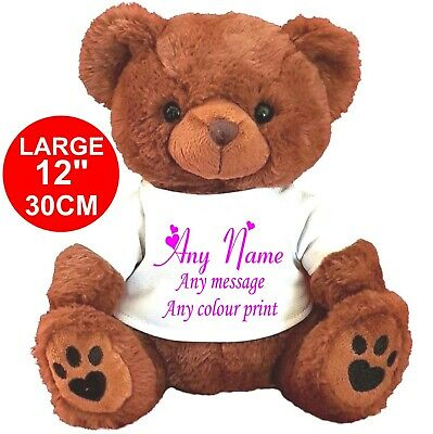 "Personalised Brown Teddy Bear 30Cm/12""  Mothers Day Flower Girl Mother's"