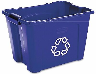 Rubbermaid Stacking Waste Collection and Recycling Bin Blue 14 Gal Polyethylene