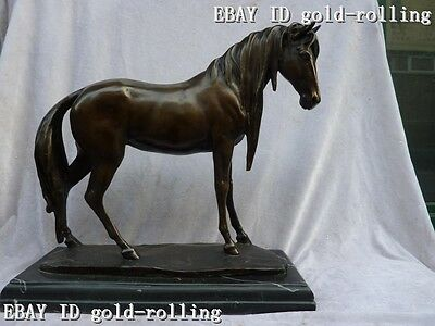 "15""Chinese Pure bronze Marble statue lifelike Art Farm Huge Horse sculpture"