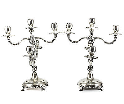 Pair of Mexico J.Jimenez Sterling Silver Candelabras, c1950 Hand Chased 200toz