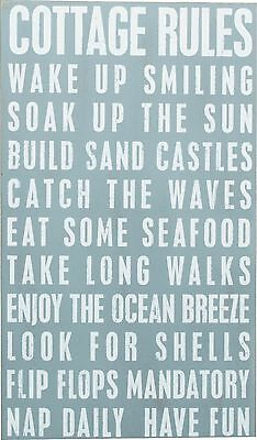 """NEW!~Primitive Wood Box Sign~""""COTTAGE RULES""""~Beach Life/Shabby/Wall Decor/Chic"""