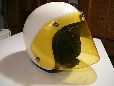 vintage motorcycle Protec model 72 white helmet 1980's 1970's ,with shield