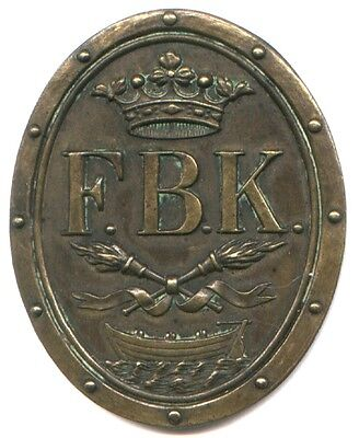 """LARGE MEDAL * """"F. B. K."""" * CROWN, TORCHES, BOAT * 53 X 43 mm * WOW * SUPER NEAT"""