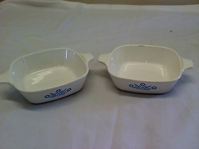 2 CORNING WARE Baking Dishes 1 3/4 Cup  Blue Corn Flowers Design