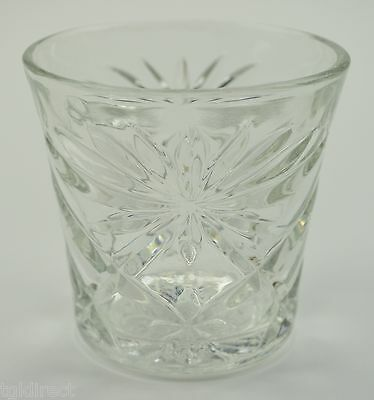 """Vintage Anchor Hocking Prescut Clear Pattern Old Fashioned Glass 3"""" Tall Tumbler"""