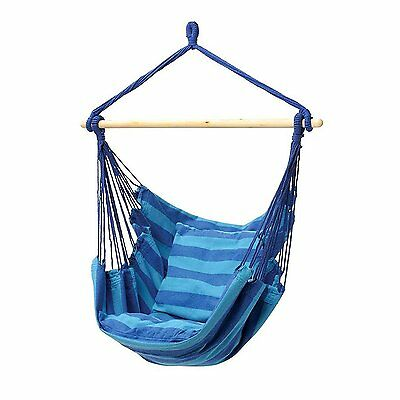 New Hanging Rope Chair Patio Swing Seat Blue/Teal Outdoor Camping Porch Hammock