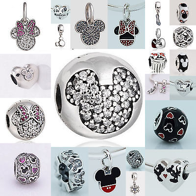 Authentic Sterling Silver 925 European Charm  I Love Mickey Heart Bead