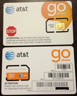 LOT OF 2 NEW ATT GoPhone Prepaid GSM 3G Phone SIM CARD Non-punched/Unactivated