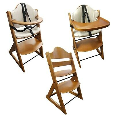 Wooden Baby High Chair 3in1 with Tray and Bar (Teak) - Baby Highchair