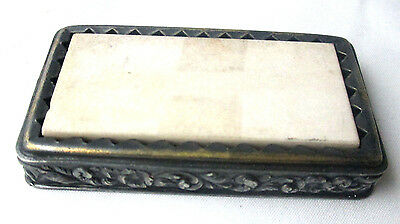 Scissor & Knife SHARPENER Stone, silver plate Original ANTIQUE c1903