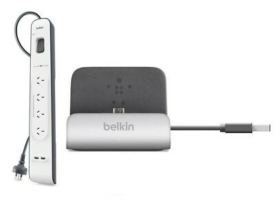 Belkin 4 Outlet Economy Surge Protector PowerBoard 2M 2*USB + Sync Dock F8M389qe