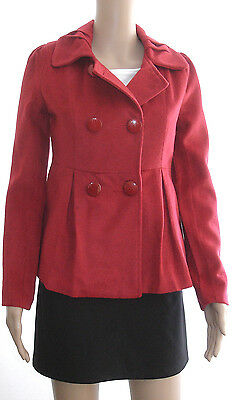 NWT Elegant Wool Blended Double-Breasted Red Coat Outerwear size M