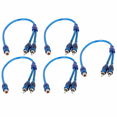 Car Audio 1 RCA Female to 2 RCA Male Y Splitter Cable Wire Adapter 5pcs Blue