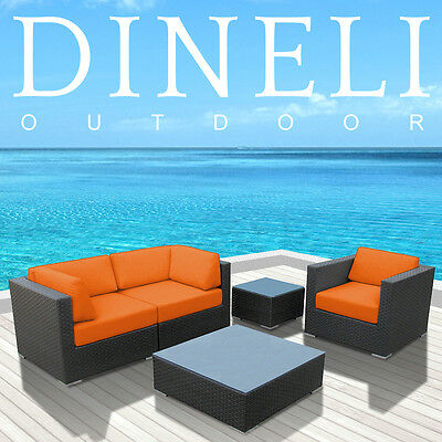 2015 DINELI Modern Patio Wicker Outdoor Sectional Sofa Furniture Set W/Arm Chair