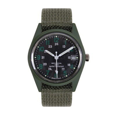 GI US Army Military Type Vietnam Veteran Era Olive Drab Wind Up Wrist Watch