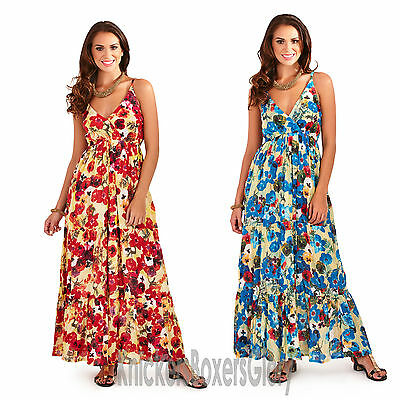 978aa4f2840 LADIES AZTEC STRAPPY Sleeveless Maxi Summer Beach Dress Blue Red NEW ...