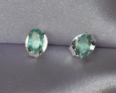 5MM x 3MM OVAL --EARTH MINED EMERALDS- STUD  EARRINGS  IN .925 STERLING SILVER