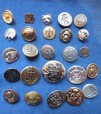 """VINTAGE METAL BUTTONS LOT OF 25  9/16""""-1 5/16"""""""