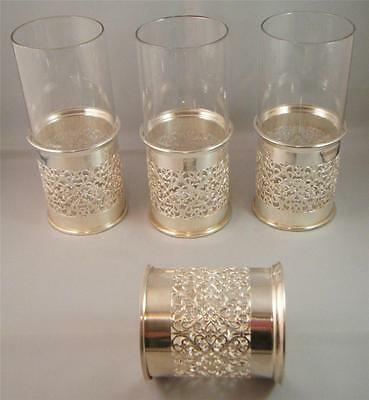 William Adams Towle Italy Silver Plated Glass Holders Victorian Heart Filigree