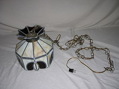 Vintage Mid Century Modern Brown Amber White Stained Slag Glass Hanging Lamp