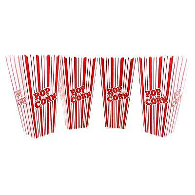 Reuseable Popcorn Plastic Containers Set of 4 Movie Theater Style  Red & White