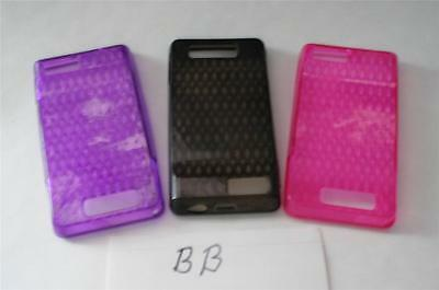 3-NEW High Gloss Silicon Gel Skins for Motorola DROID X2 PINK PURPLE & BLACK