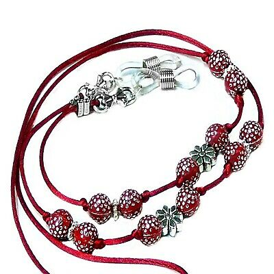 Red Beaded Cord Sparkly Reading Eye glasses spectacle chain holder lanyard