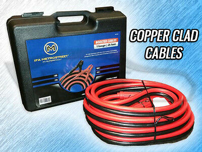 Heavy Duty 1 Gauge 25 Foot Booster/Jumper Battery Cables - 800Amp - W/ Case