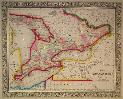 1860 Genuine Antique Map of Counties of Great Lakes area of Canada. A Mitchell