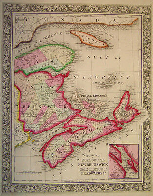 1860 Genuine Antique Map of Nova Scotia  & New Brunswick, Canada. A Mitchell